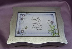 Silver Scalloped Musical Jewelry Photo Box #SP3060