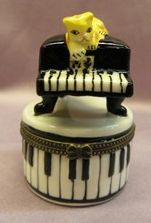 Baby Grand Piano Limoge Style Trinket Box  #1249