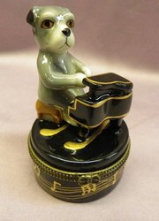 Dog Playing Piano Limoge Style Trinket Box  #1320