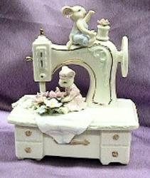 Porcelain Sewing Machine/ Mice Music Box #58022